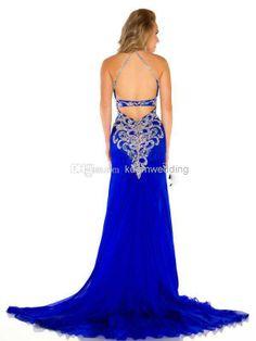 Wholesale Prom Dresses - Buy QM-2014 Glamorous Formal Prom Dresses Sexy Halter V Neck Beaded COrset High SIde Slit Backless A Line Floor Len...