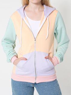 American Apparel Unisex Flex Fleece Color Block Zip Hoodie