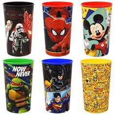 Five Assorted Licensed Character Cups, 22 oz. Mickey Mouse Club, Minnie Mouse Party, Classroom Supplies, Party Supplies, Pj Mask Decorations, Bulk Party Favors, Superman And Spiderman, Batman, Cup Decorating