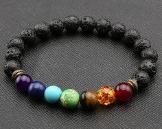 8 mm NATURAL Lava Stone Argenté Bloquer Bracelet Yoga Mala méditation prière