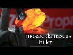 Pattern welding a mosaic damascus billet - YouTube