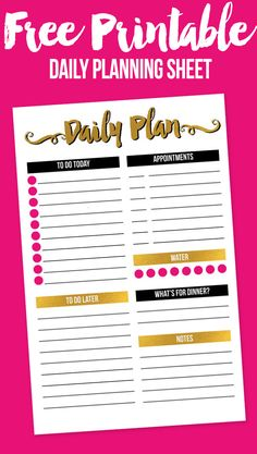 Free printable daily planning sheet - in half letter size with modern gold, black, and pink color palette. Daily Planner Pages, Daily Planner Printable, Printable Labels, Happy Planner, Free Printables, 2016 Planner, Planner Board, Calendar Printable, Life Planner