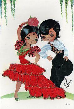 Embroidered Spanish Postcard 1960s,Kitsch Vintage Postcards    smashingbird.blogspot.com