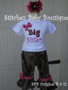 Custom Girls Camo Big Sister Ruffle Pant OR Capri by stitchinmamma, $42.00