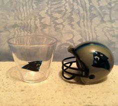 NFL MINI PLASTIC HELMET (2010) & NFL Plastic SHOT CUP (2012) Carolina Panthers #NFL #CarolinaPanthers
