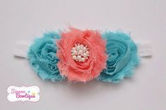 Blue Coral Shabby Headband Baby Girl Shabby by SiennaBowtique, £7.00