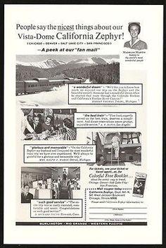 Vista Dome California Zephyr 1964 Train Photo Ad Host M Martin Western Pacific California Zephyr, Wonderful Dream, Vintage Ads, Vintage Trains, Software Online, Hosting Company, Winter Travel, Best Web, Salt Lake City