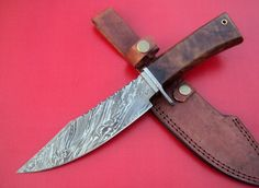A2 BLADES CUSTOM HANDMADE DAMASCUS HUNTING KNIFE WITH ROSE WOOD  HANDLE.