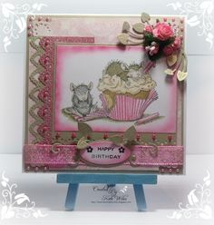 Handmade card with house mouse image and flowers