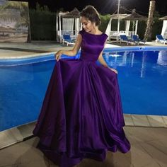 Purple Satin Prom Ball Gowns Backless Evening Dresses