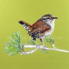 'Wren' Hand & Machine Embroidered Art Canvas ©gillianbates 2016
