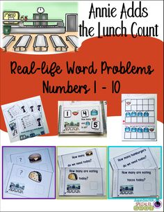 3 different reading differentiated levels in this cute product Annie Adds the Lunch Count. Your students use a variety of lunch count charts to interpret the number of lunch items the class needs today. Then they use the task cards and the information from the chart to practice adding numbers from 1 - 10.