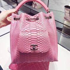Pink Chanel Python Backpack