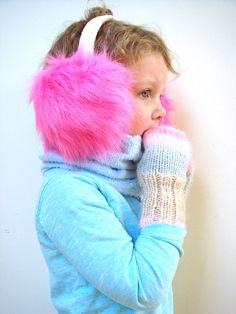 Ear muff winter accessory cute gift for toddler by RainbowMittens,