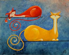 Original Fantasy Cat Acrylic Painting for Sale by NaturelandsAndCo