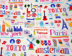Lecien Print Travel the world theme fabric C2 by beautifulwork, $8.50