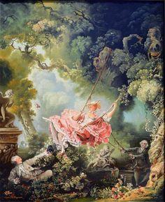 Fragonard dans Les Hasards heureux de l'escarpolette peint une scène galante toute en mouvement autour de la pantoufle saisie en plein vol entre 1767 et 1769.
