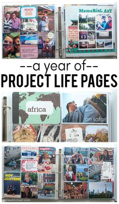 One years worth of project life scrapbook ideas. Lots of ideas for fun project life pages that use memorabilia and photos.