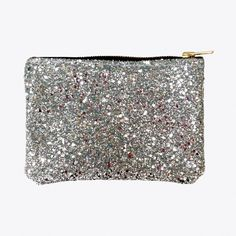 Glitter Zip Pouch Silver Large (£26) ❤ liked on Polyvore featuring bags, handbags, clutches, white handbags, silver glitter handbag, white hand bags, silver clutches and man bag