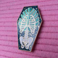 Monstera Bones Coffin Enamel Pin by FlairyDust on Etsy
