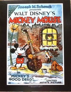 Vintage Disney Cartoon Posters, Micky's Good Deed x 11 inches~ Mint Condition Disney Posters~ ( 2 Back to Back Posters ) Animated Movie Posters, Disney Movie Posters, Disney Animated Films, Cartoon Posters, Disney Cartoons, Retro Posters, Images Disney, Art Disney, Disney Pictures