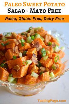 Dairy Free Recipes, Paleo Recipes, Real Food Recipes, Gluten Free, Easy Recipes, Paleo Sweet Potato, Salad With Sweet Potato, Potato Salad, Clean Eating Salads