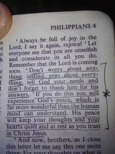 Don't worry about anything....instead pray about everything...