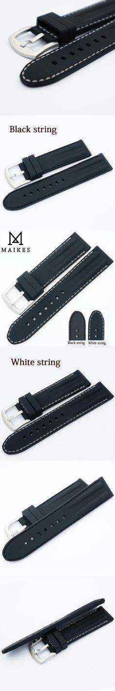 MAIKES 22mm Watchband Silicone Rubber Bands For Automatic Watch Men Wristwatch Band Sports Dive Watch Straps