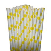 Dot Yellow Paper Party Straws - $3.75 per 25 pack