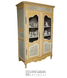 Yellow Painted Provencal Armoire-Painted Provence Furniture, French Provence, French Provincial, Louis XV Furniture, French Style, Country French, French Country, Painted Furniture, Annie Sloan, Rustic Painted Furniture