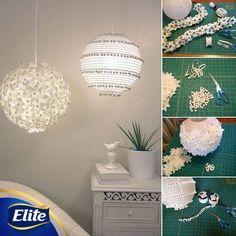 ¡Renueva tu hogar redecorando una lámpara china!  Utiliza material que tengas en casa. Emoticono smile   #EliteMeAcompaña #DIY