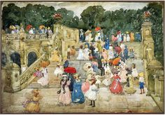 The Mall, Central Park (also known as Steps, Central Park or The Terrace Bridge, Central Park) - Maurice Prendergast - WikiPaintings.org