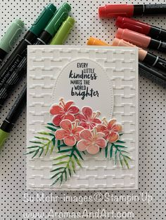 "to Stamp"" Technique Tropical Flowers ""Ink to Stamp"" Technique for a watercolored effect.""Ink to Stamp"" Technique for a watercolored effect. Tropical Flowers, Embossed Cards, Stamping Up Cards, Card Tutorials, Pretty Cards, Flower Cards, Cool Cards, Greeting Cards Handmade, Homemade Cards"