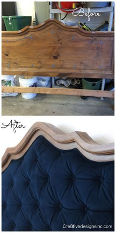 A DIY of how she took this thrifted headboard and added blue velvet tufting.