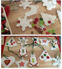 Lavoretti di Natale con la pasta di mais_ornamenti per albero di Natale con bottoni Handmade Decorations, Christmas Decorations, Christmas Ornaments, Holiday Decor, Xmas Crafts, Diy And Crafts, Crafts For Kids, Foto Blog, Salt Dough Ornaments