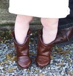 Brown Leather Cowboy Baby Boots