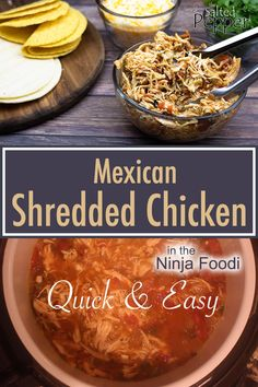 Deliciously simple Mexican Shredded Chicken made right in the Ninja Foodi or electric pressure cooker. Use in your favorite Mexican recipes and the broth makes a great soup! Homemade Enchilada Sauce, Homemade Enchiladas, Crockpot Recipes, Chicken Recipes, Healthy Recipes, Vegetarian Recipes, Healthy Food, Mexican Food Recipes, Dinner Recipes