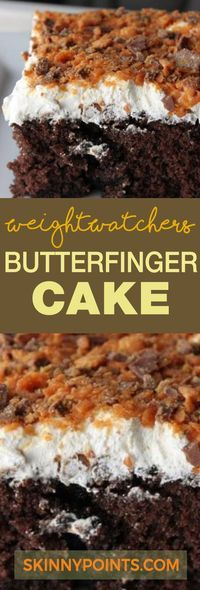 Butterfinger Cake With Only 6 Weight watchers Smart Points - The picture shows a chocolate cake but you use pieces of an angel food cake mix, so the pic doesn't match the recipe. I want the chocolate & the 6 SmartPoints. Weight Watcher Desserts, Weight Watchers Kuchen, Weight Watchers Meals, Ww Recipes, Cake Recipes, Dessert Recipes, Recipies, Weight Eatchers Recipes, Recipes Dinner
