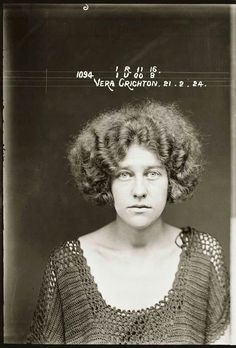 A police mugshot from 1924. I love the crocheted dress