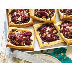 Beetroot, feta and walnut tarts recipe - By FOOD TO LOVE, The combination of beetroot, creamy feta and crunchy walnuts work perfectly together in these delicious pastry tarts - perfect for a tasty snack, a quick lunch or a light dinner.