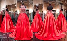 Red Two Piece Ball Gown-High Beaded Neckline-Side Pockets-116TF0460680 at Rsvp Prom and Pageant, your source for the HOTTEST Prom and Pageant Dresses!