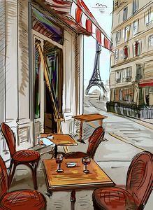 Street in paris - illustration Interior Architecture Drawing, Watercolor Architecture, Cityscape Drawing, Painting & Drawing, Copic Drawings, Art Drawings, Paris Illustration, Paris Art, Urban Sketching
