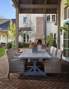 on the veranda Outdoor Rooms, Outdoor Dining, Outdoor Decor, Outdoor Patios, Outdoor Kitchens, Dining Area, Dining Room, Dining Table, Outdoor Furniture