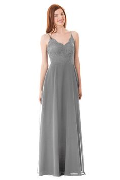 Lace camisole bodice with spaghetti straps and scallop edging. A-Line Bella Chiffon skirt. Center back zipper. | Style: 1664 #bridesmaids #wedding