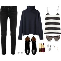 A fashion look from September 2013 featuring Vanessa Bruno sweaters, TIBI tops and AG Adriano Goldschmied jeans. Browse and shop related looks.