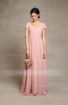 Beautiful Pink Short Sleeved Long Pink Chiffon Bridesmaid Dress _1