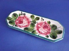 Wemyss Ware 'Cabbage Roses' Pen Tray c1900