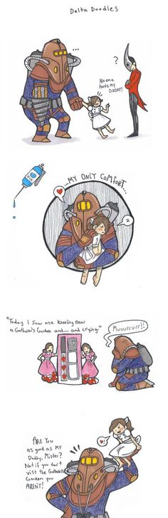 Delta and Eleanor are so cute! That game broke my heart Dx multiple times! and I got the super happy ending! I watched the neutral ending like 4 times w. Delta and Eleanor Bioshock Rapture, Bioshock Game, Bioshock Series, Bioshock Infinite, Video Game Art, Video Games, King's Quest, Fallout New Vegas, Fallout 3