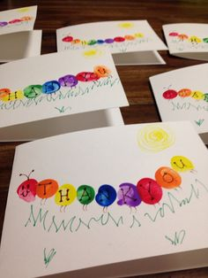 I had my 2 and 4 year-old make theses Thank You cards for their teachers. We used their thumb prints for body. They turned out so cute!