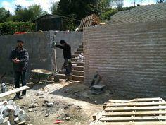 Bordure/ Paves/Betone/Dalles: Mur en pavé blanc